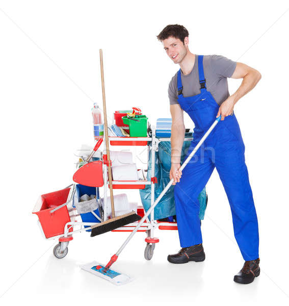 Man With Cleaning Equipment Stock photo © AndreyPopov