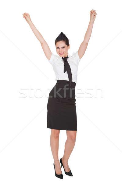 Nő karok a magasban ujjongás gyönyörű átgondolt elegáns Stock fotó © AndreyPopov