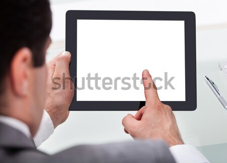 Man digitale tablet home afbeelding scherm Stockfoto © AndreyPopov