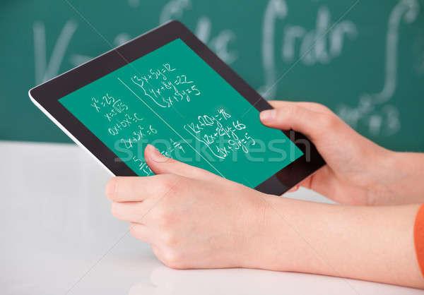 Student wiskunde probleem digitale tablet klas Stockfoto © AndreyPopov