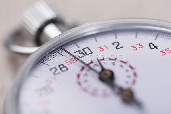 Primer plano cronógrafo foto mesa de madera cara reloj Foto stock © AndreyPopov