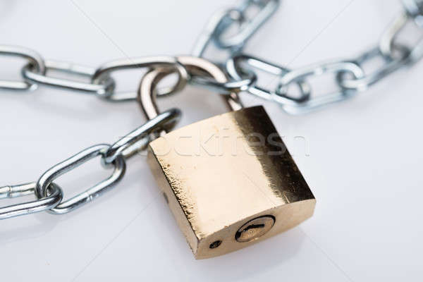 Metallic Padlock And Chains Stock photo © AndreyPopov