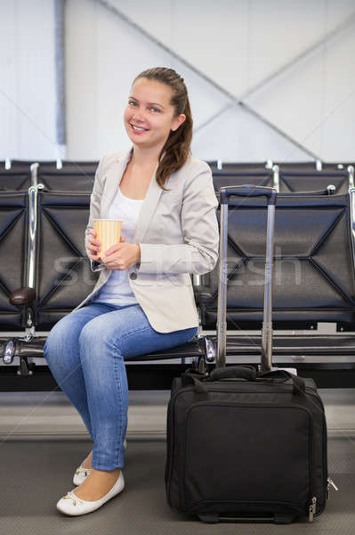 女性実業家 コーヒー 空港 ロビー 肖像 幸せ ストックフォト © AndreyPopov