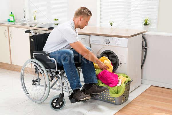 инвалидов человека стиральная машина молодые коляске Сток-фото © AndreyPopov