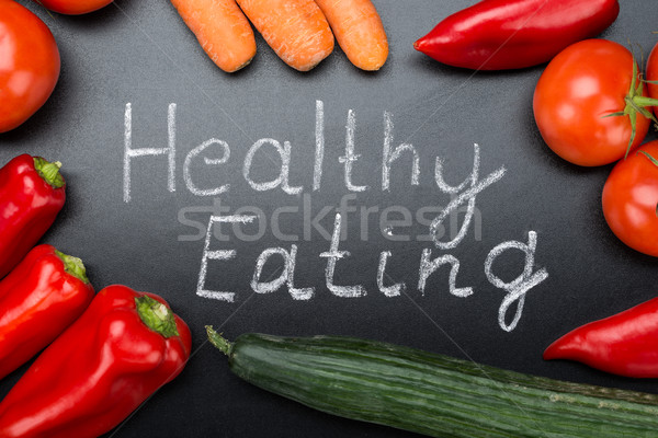 Healthy Eating Written Amidst Vegetables On Blackboard Stock photo © AndreyPopov