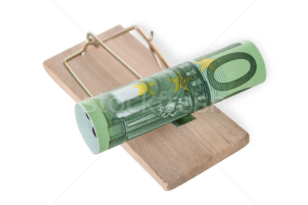 Rolled Euro Note On Mousetrap Stock photo © AndreyPopov