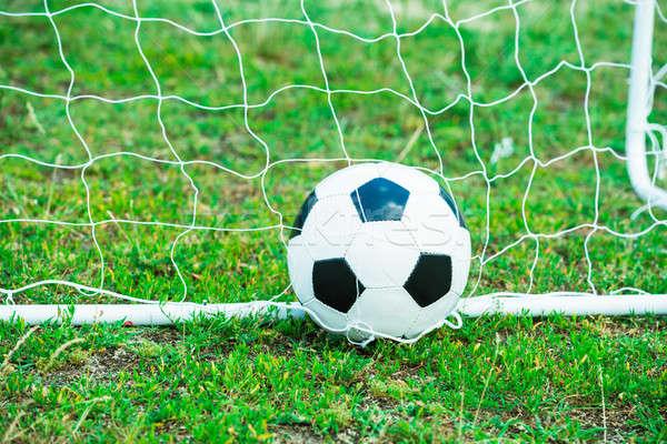 Soccer Ball In Goal Stock photo © AndreyPopov