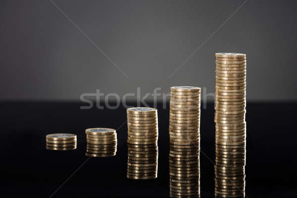 Stack Of Coins In A Row Stock photo © AndreyPopov