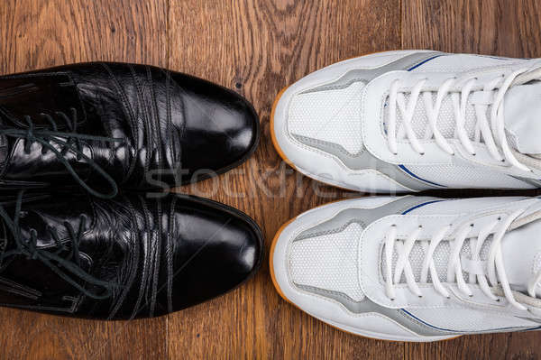 Pair Of White And Black Shoes Stock photo © AndreyPopov