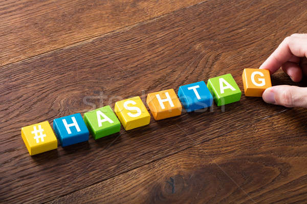 Hashtag Word Written On Cube Stock photo © AndreyPopov