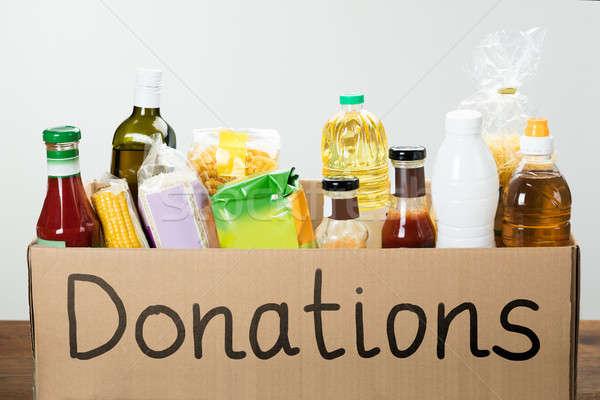 Doação caixa comida fundo Foto stock © AndreyPopov