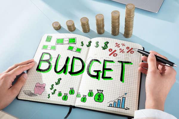 Mujer dibujo presupuesto palabra bloc de notas escritorio Foto stock © AndreyPopov