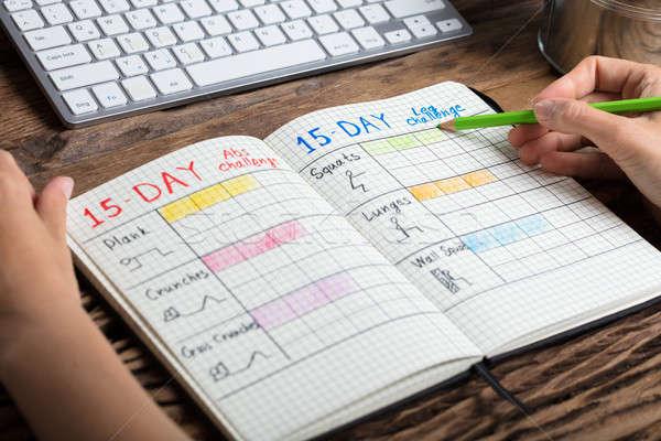 Stock foto: Menschlichen · Hand · Ausübung · Plan · Notebook