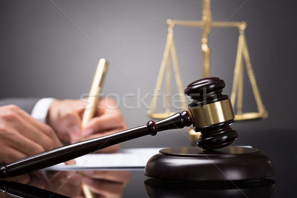 Close-up Of A Gavel On Sounding Block Stock photo © AndreyPopov