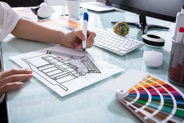 Architecture Drawing Sketch Of House On Placard Stock photo © AndreyPopov
