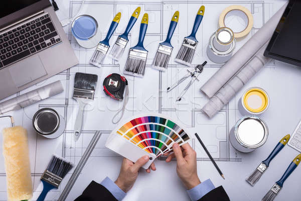 Architect Holding Color Guide Swatch Stock photo © AndreyPopov