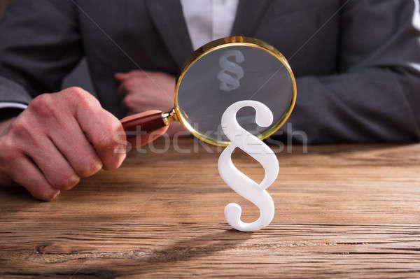 Weiß Absatz Symbol Hand halten Stock foto © AndreyPopov
