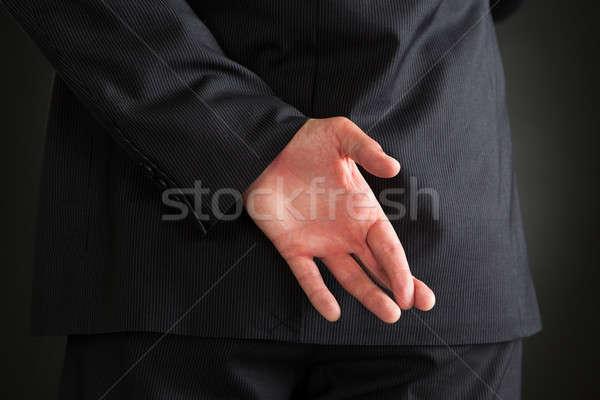 Foto stock: Empresário · mãos · atrás · em · pé · preto