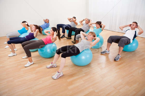 Classe personnes pilates gymnase tête Photo stock © AndreyPopov