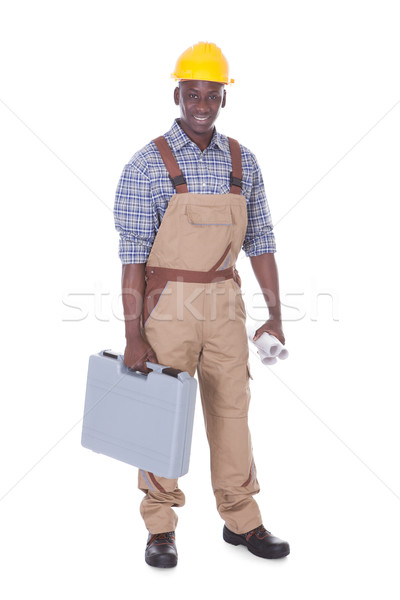 Male Worker Carrying Toolbox Stock photo © AndreyPopov