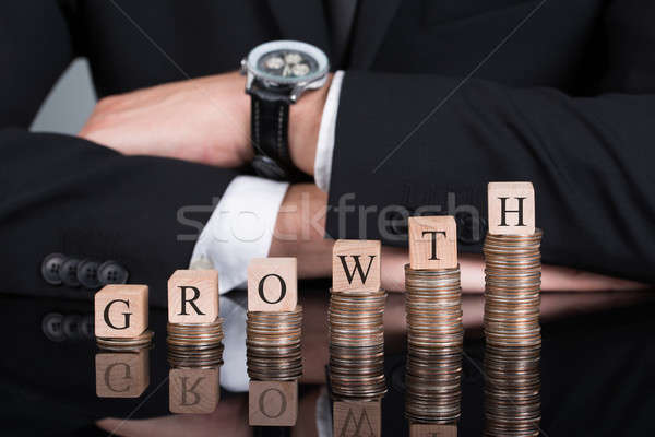 Businessman With Growth Blocks On Stacked Coins Stock photo © AndreyPopov