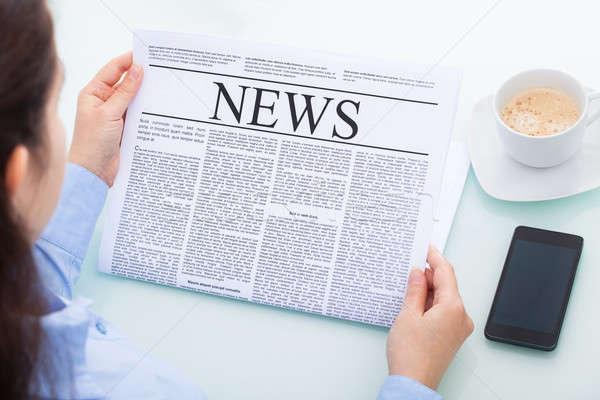 деловая женщина газета мнение чтение Сток-фото © AndreyPopov