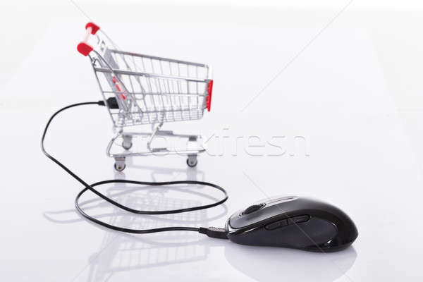 Computer mouse connected to shopping cart Stock photo © AndreyPopov