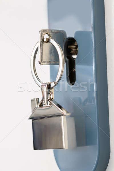 Anahtar anahtar deliği gümüş güvenlik kilitlemek Stok fotoğraf © AndreyPopov