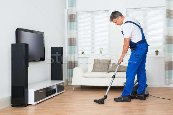 ワーカー 洗浄 階 真空掃除機 リビングルーム ストックフォト © AndreyPopov