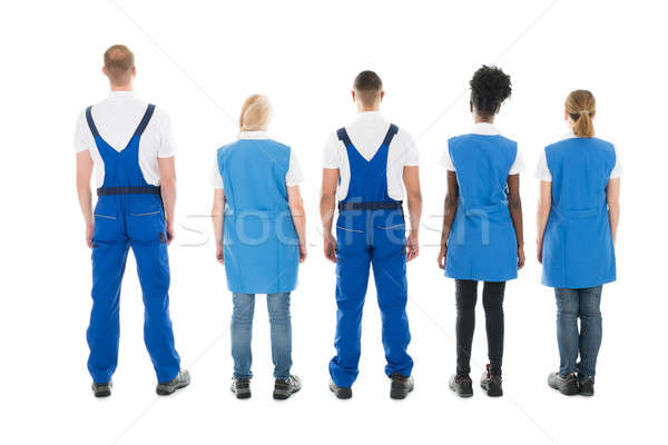 Rear View Of Multiethnic Janitors Standing In Row Stock photo © AndreyPopov