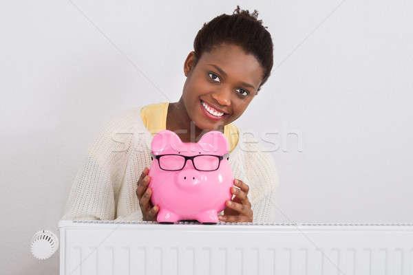 Stock fotó: Nő · persely · dől · radiátor · fiatal · afrikai