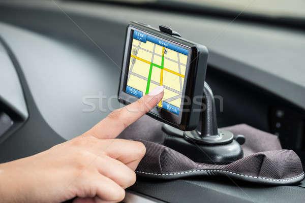 Stock fotó: Nők · kéz · GPS · navigáció · közelkép · bent