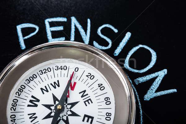 Bússola pensão texto lousa negócio Foto stock © AndreyPopov