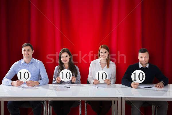Panel Judges Holding 10 Score Signs Stock photo © AndreyPopov