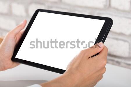 Stockfoto: Persoon · digitale · tablet · hand
