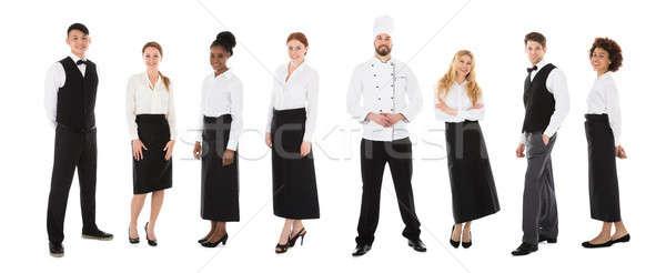Restaurant Staffs In A Line Stock photo © AndreyPopov