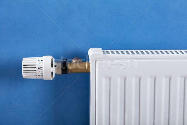 Radyatör termostat beyaz mavi ev ev Stok fotoğraf © AndreyPopov