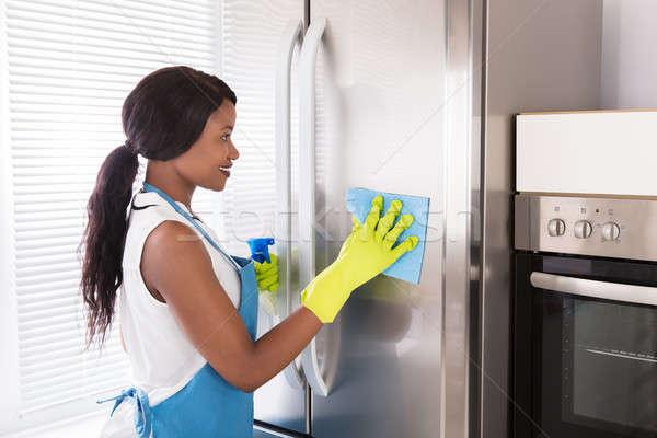 Donna pulizia acciaio inossidabile frigorifero felice giovani Foto d'archivio © AndreyPopov