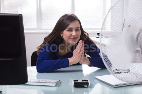 Electric Fan In Front Of Businesswoman Joining Hands Stock photo © AndreyPopov