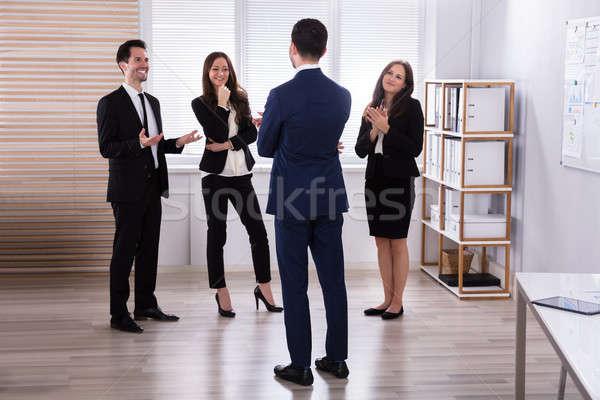 Menedzser kolléga megbeszélés fiatal munkahely üzlet Stock fotó © AndreyPopov