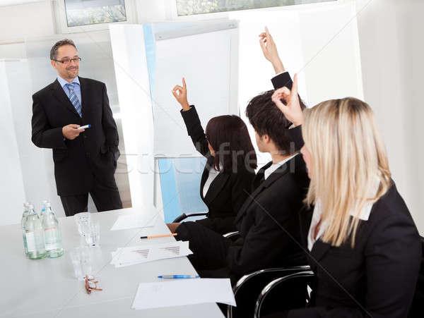üzletemberek bemutató kezek csoport iroda nők Stock fotó © AndreyPopov