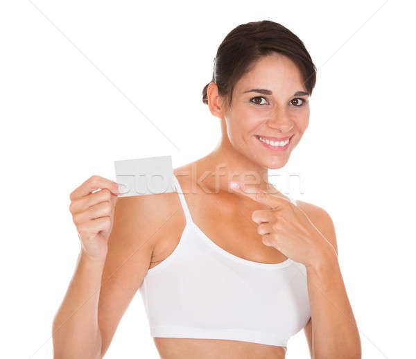 Woman Holding Visiting Card Stock photo © AndreyPopov