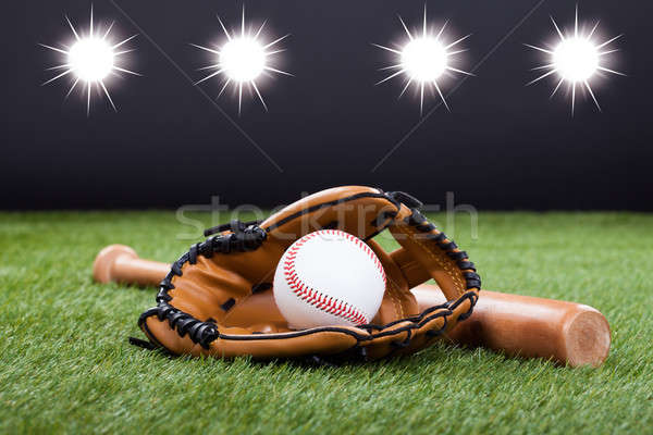 Baseball Glove With Baseball And Bat Stock photo © AndreyPopov