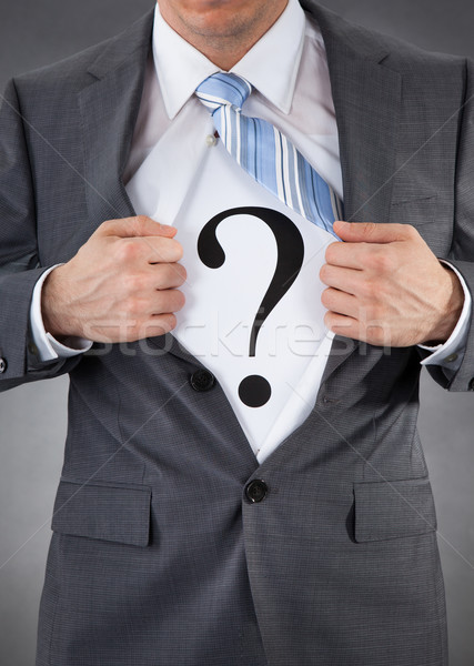 Businessman With Question Mark Sign Stock photo © AndreyPopov