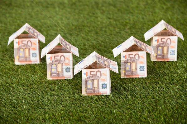 Euros maisons herbeux terres note maison Photo stock © AndreyPopov