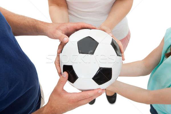 семьи футбольным мячом мнение белый Сток-фото © AndreyPopov