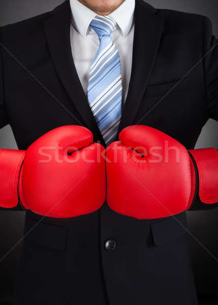 Businessman Wearing Boxing Gloves Stock photo © AndreyPopov