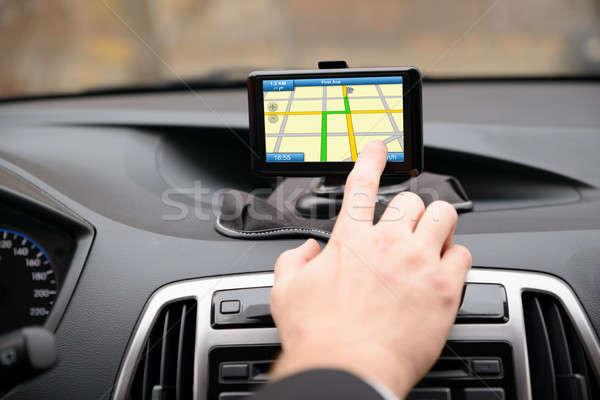 Férfi GPS navigáció vezetés közelkép autó Stock fotó © AndreyPopov