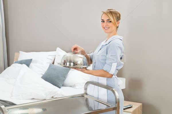 Chambermaid Holding Food Tray Stock photo © AndreyPopov