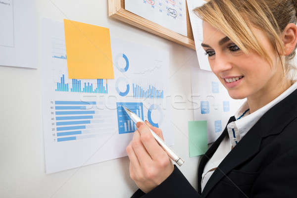 Businesswoman Analyzing Graph Attached To Wall Stock photo © AndreyPopov